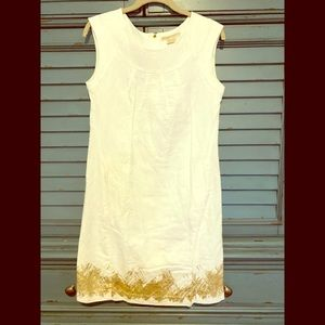 Michael Kors White Dress with gold prints